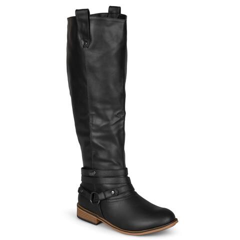Journee Collection Women's Walla Ankle-strap Knee-high Riding Boot