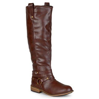 Journee Collection Women's 'Walla' Regular and Wide-calf Ankle-strap Knee-high Riding Boot|https://ak1.ostkcdn.com/images/products/8342899/P15653317.jpg?impolicy=medium