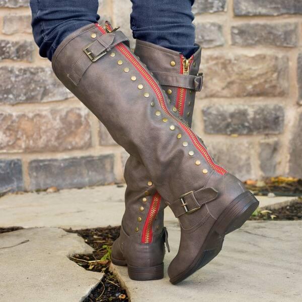 Women/'s Red Metal Decor Ankle Riding Boots Zipper Fur Trim Tassel Shoes Bty15