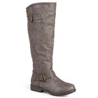 Journee Collection Women's 'Spokane' Regular and Wide-calf Riding Boot With Red Zipper