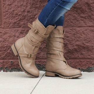 Hailey Jeans Co. Women's 'Jennica' Buckle-Strap Mid-Calf Motorcycle Boots