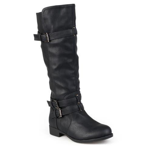 Journee Collection Women's 'Bite' Regular and Wide-calf Buckle Knee-high Riding Boot
