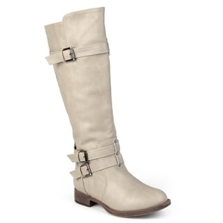 Link to Journee Collection Women's 'Bite' Regular and Wide-calf Buckle Knee-high Riding Boot Similar Items in Women's Shoes