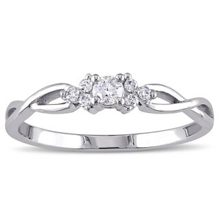 Miadora 10k White Gold 1/6ct TDW Diamond Trillium Infinity Ring
