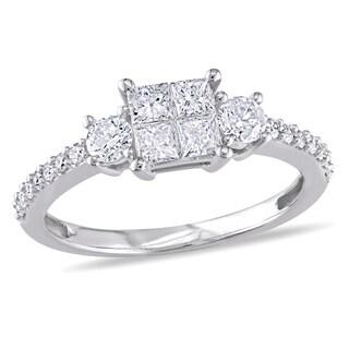 Miadora 10k White Gold 3/4ct TDW Diamond Engagement Ring