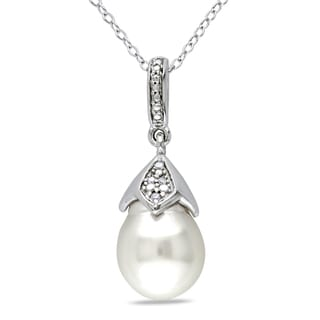 Miadora Sterling Silver South Sea White Pearl and Diamond Necklace (H-I, I2-I3) (9-9.5 mm)