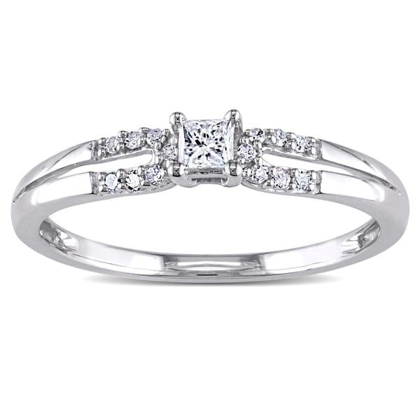 Miadora 10k White Gold 16ct TDW Diamond Promise Ring Free