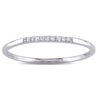Miadora 10k White Gold Thin Stackable Diamond Band Ring (More options available)