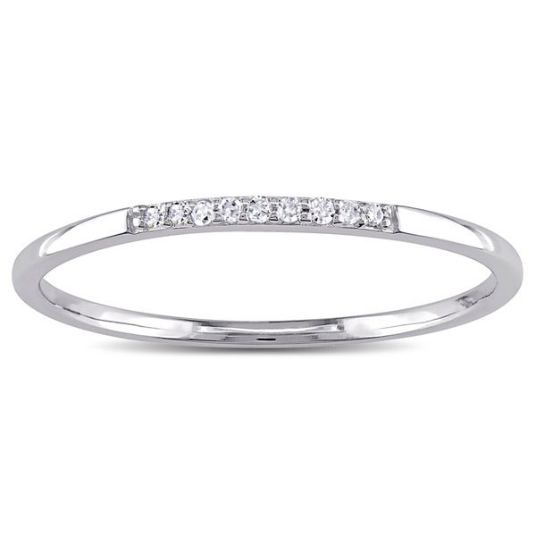 Miadora 10k White Gold Thin Stackable Diamond Band Ring (H-I, I1-I2)