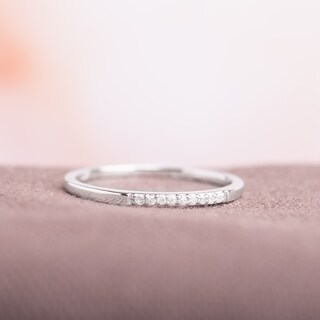 Miadora 10k White Gold Thin Stackable Diamond Band Ring