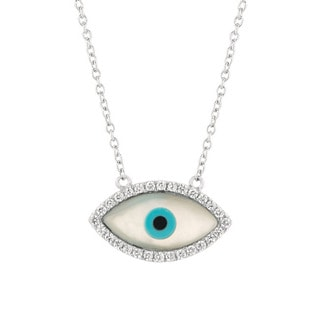 Sterling Silver Cubic Zirconia Eye Necklace
