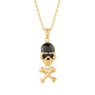 Goldplated Silver Black Cubic Zirconia Skull and Crossbones Necklace