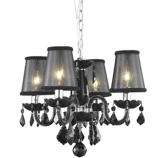 Somette 4-Light Black Chandelier with Crystals and Shades