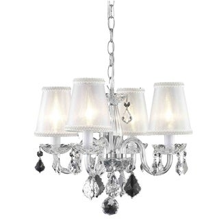Somette 4-Light Chrome Chandelier with Crystals and Shades