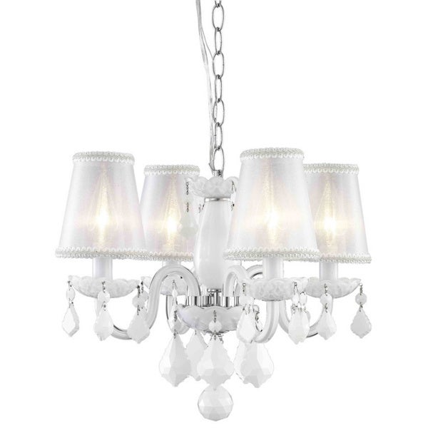 Somette 4 light white chandelier with crystals and shades free shipping today - White chandelier with shades ...