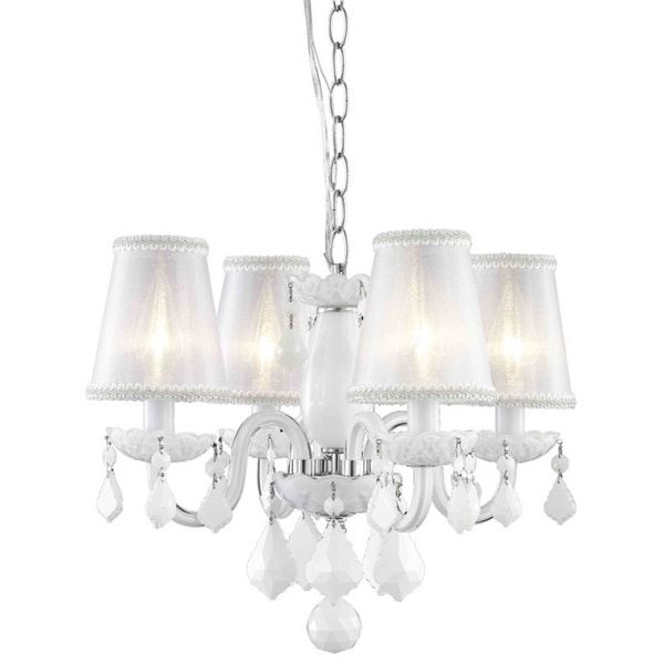 Somette 4 Light White Chandelier With Crystals And Shades
