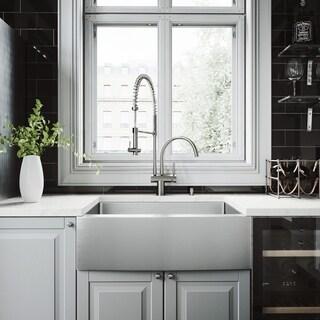 VIGO Bedford 30-inch Farmhouse Kitchen Sink and Dresden Faucet Set