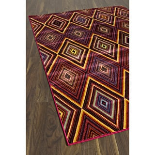 Chroma Diamond Red Red Abstract Rug Rectangular (6'7 x 9'6)
