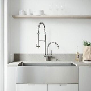 VIGO Bedford Stainless Steel Kitchen Sink and Dresden Faucet Set