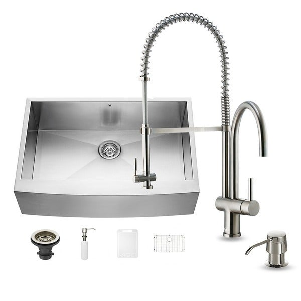 27 Inch Stainless Steel Farmhouse Sink : ... -in-one 33-inch Farmhouse Stainless Steel Kitchen Sink and Faucet Set