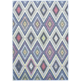 Chroma Diamond Blue Abstract Light Blue Rug (5'5 x 7'9)