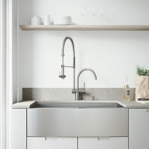 VIGO Camden Stainless Steel Kitchen Sink and Dresden Faucet Set