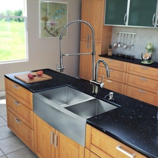 VIGO All-in-One 36-inch Stainless Steel Farmhouse Kitchen Sink and Dresden Stainless Steel Faucet Set