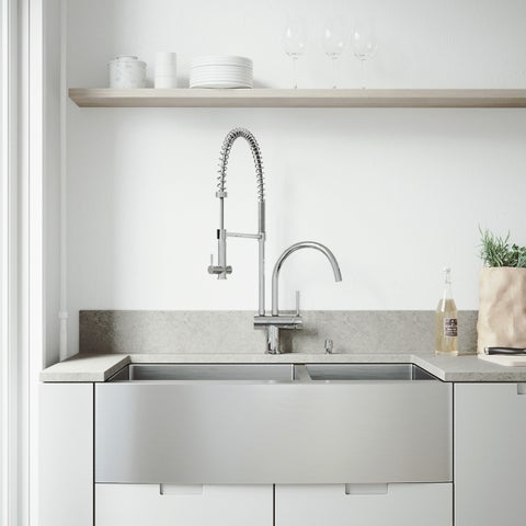 VIGO All-In-One 36 Bingham Stainless Steel Double Bowl Farmhouse Kitchen Sink Set With Dresden Faucet In Chrome