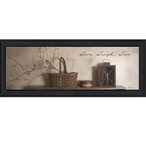 """""""Live, Laugh and Love"""" By Billy Jacobs, Printed Wall Art, Ready To Hang Framed Poster, Black Frame"""