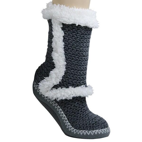 Women's Grey Lounge Slipper Socks with Faux Fur Trim
