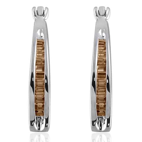 Sterling Silver 1/4ct TDW Baguette-cut Champagne Diamond Hoop Earrings