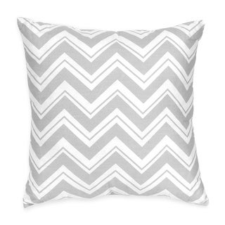Sweet Jojo Designs Pink and Gray Chevron Zig Zag Decorative Accent Throw Pillow