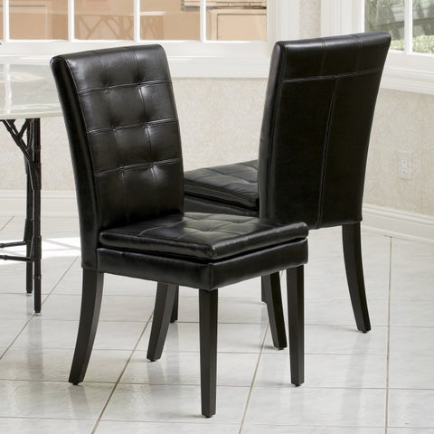 Crayton Leather Dining Chair (Set of 2) by Christopher Knight Home