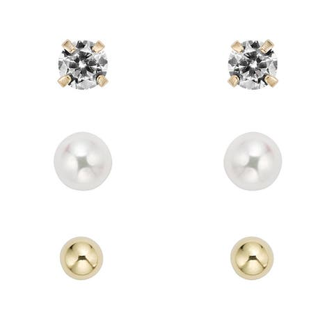 Pearlyta 14k Gold Children's Ball, CZ and Freshwater Pearl Earring Set with Gift Box (5-6 mm) - White
