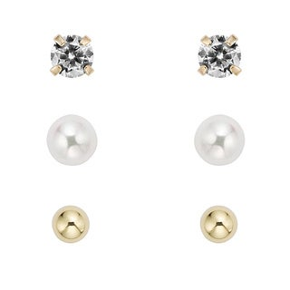 Pearlyta 14k Gold Children's Ball, CZ and Freshwater Pearl Earring Set with Gift Box (5-6 mm)