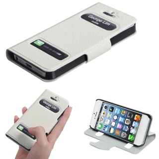 INSTEN White Book-Style Wallet Phone Case Cover for Apple iPhone 5