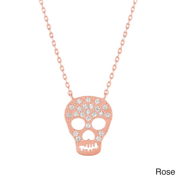 Sterling Silver Cubic Zirconia Skull Necklace