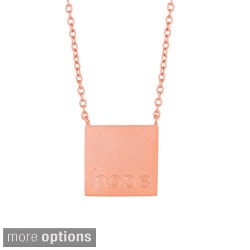 Sterling Silver 'Hope' Square Necklace