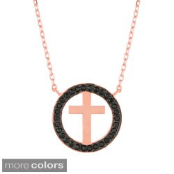 Sterling Silver Black Cubic Zirconia Cross Necklace