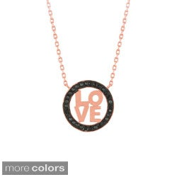 Sterling Silver Black Cubic Zirconia 'Love' Necklace