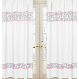 Sweet Jojo Designs Pink, Gray and White 84-inch Window Treatment Curtain Panel Pair for Pink and Gray Kenya Collection