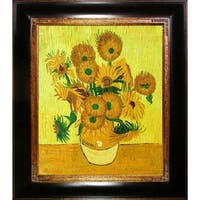 Vincent Van Gogh 'Vase with Fifteen Sunflowers' Hand Painted Framed Canvas Art