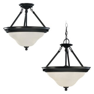 Sussex 3-light Convertible Pendant in Heirloom Bronze Finish/ Satin Etched Glass