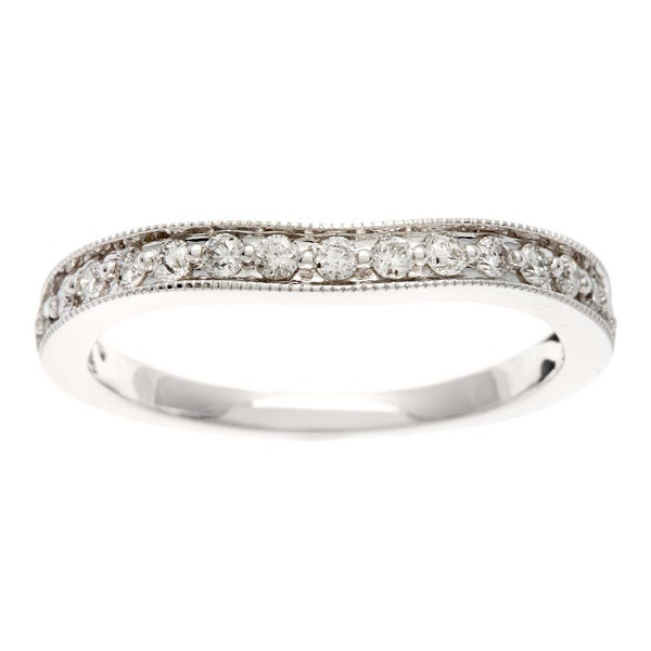 Sofia 14k White Gold 1/4ct TDW Curved Round Cut Diamond Wedding Band (H-I, I1-I2)