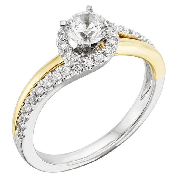 Sofia 14k Gold 3/4ct TDW Certified Two Tone Halo Diamond Engagement Ring (H-I, I1)