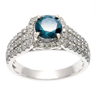 Sofia 14k Gold 1 3/4ct TDW Certified Blue Diamond Triple Row Engagement Ring (H-I, I1-I2)