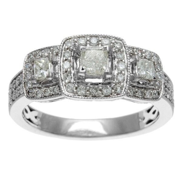 Sofia 14k White Gold 1ct TDW IGL Certified Three Stone Princess Cut Diamond Engagement Ring