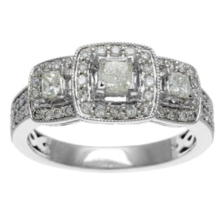 Sofia 14k White Gold 1ct TDW Certified Three Stone Princess Cut Diamond Engagement Ring