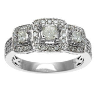 Sofia 14k White Gold 1ct TDW Certified Three Stone Princess Cut Diamond Engagement Ring (H-I, I1-I2)