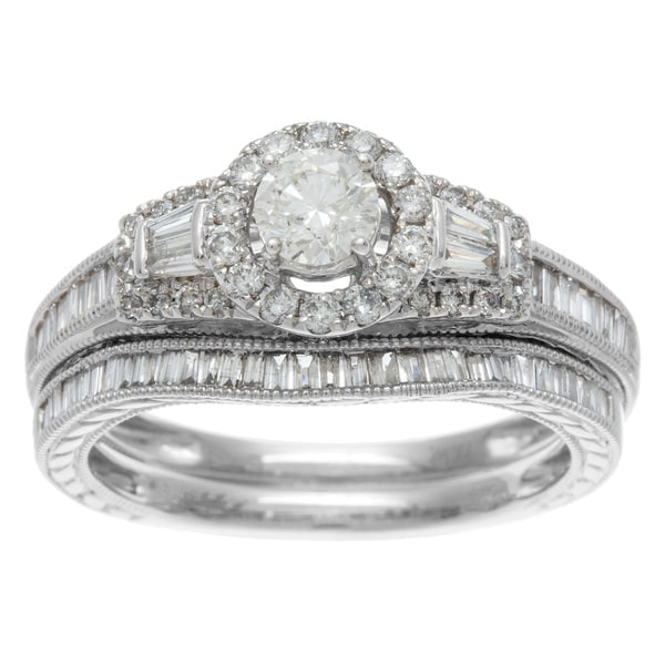Sofia 14k White Gold 1ct TDW IGL Certified Mixed Cut Baguette Diamond Bridal Ring Set